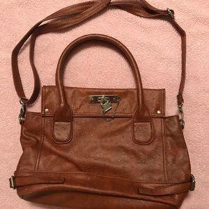 Handbags - Brown Faux Ostrich Satchel